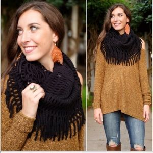 Black Chenille Fringed Infinity scarf